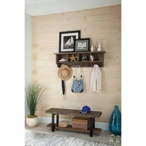 Rio Carbon Loft Lawrence Reclaimed Wood Coat Hook and Bench (Brown - Reclaimed Wood)