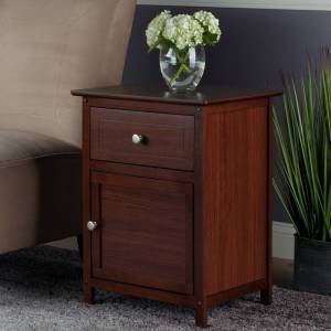 Winsome Brown Wood Night Stand with Drawer and Cabinet (1-drawer)