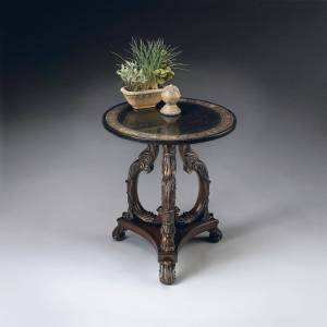 Butler Black Fossil Stone Veneer Top Heritage Accent Table with Metal and Brass Inlays (Multi-Color)
