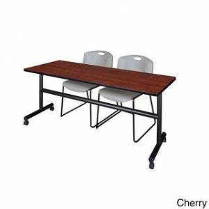 Regency Seating Kobe Grey 72-inch Wide Flip-top Mobile Training Table and 2 Zeng Stack Chairs (Cherry)
