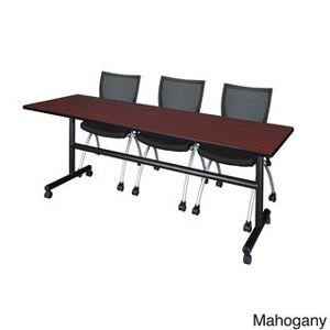 Regency Seating Kobe Black Laminate/Wood/Metal 84-inch Flip Top Mobile Training Table with 2 Apprentice Chairs (Mahogany)