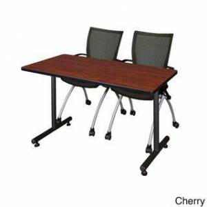 Regency Seating Kobe Black 48-inch Black Training Table and 2 Apprentice Chairs (Cherry)