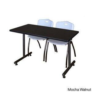 Regency Seating Kobe 48-inch x 24-inch Training Table with 2 Grey 'M' Stack Chairs (Mocha Walnut)