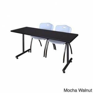 Regency Seating Kobe 66-inches Long x 24-inches Wide Training Table With 2 Grey 'M' Stack Chairs (Mocha Walnut)