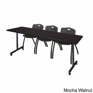 Regency Seating Kobe Black 84-inch x 24-inch Mobile Training Table with 3 'M' Stack Chairs (Mocha Walnut)
