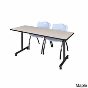 Regency Seating Kobe Grey 60-inch x 24-inch Mobile Training Table and 2 'M' Stack Chairs (Maple)