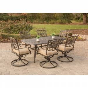 Hanover Outdoor Traditions 7-Piece Dining Set with Six Swivel Dining Chairs and a Large 72 x 38 in. Dining Table (Aluminum/Tan)