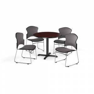 """OFM Mahogany 36-inch Round X Shaped Base Table with 4 Fabric Chairs - 36"""" (Navy)"""
