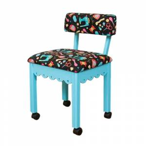 Arrow Sewing Cabinet Black Sewing Notions Chair with Gingerbread Scallops - Blue Finish (Chair)