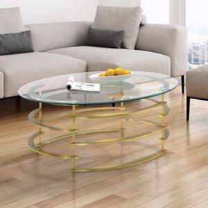 Furniture of America Odella Contemporary Glam Glass Top Coffee Table (Champagne)