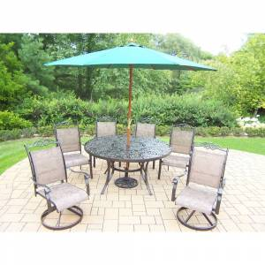 Oakland Living Corporation Dining Set with Table, 2 Swivel Rockers, 4 Chairs, Umbrella and Stand (Coffee, Green Umbrella)