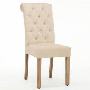 Copper Grove Coldspring Linen/Wooden Roll-top Tufted Dining Chair (Set of 2) (White)