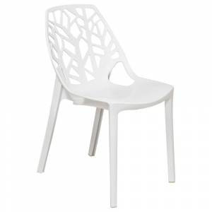 LeisureMod Modern Flora White Cut-out Plastic Dining Chair (Single - White - Dining Height)