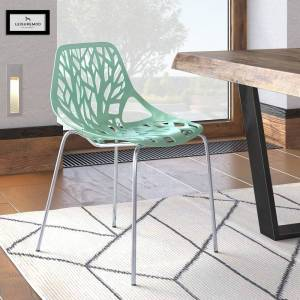 LeisureMod Asbury Mint Open Back Chrome Dining Side Chair (Single - Mint - Dining Height)