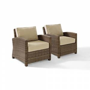 Crosley Furniture Bradenton Outdoor Wicker Arm Chairs with Sand Cushions (Set of 2) (brown)