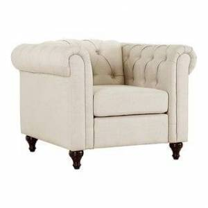 US Pride Furniture Thomas Modern Chesterfield Linen Fabric Tufted Chair with Wood Legs (Beige)