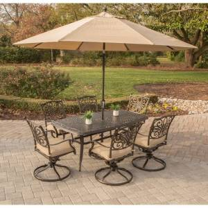Hanover Traditions Tan Aluminum 7-piece Dining Set with Umbrella and Stand (Tan)