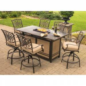 Hanover Traditions 7-Piece High-Dining Set in Tan with 30,000 BTU Fire Pit Table (Tan)