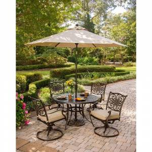 Hanover Traditions 6 Pc. Dining Set of 4 Aluminum Cast Swivel Chairs, 48 in. Round Table, and a Table Umbrella (Tan)