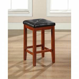 Crosley Furniture Classic Cherry Finish Upholstered Square Seat Bar Stool with 24-inch Seat Height (Set of Two) (Square Seat Bar Stool in Cherry Finish 24 Inch (2))