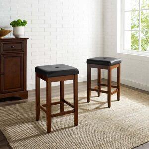 Crosley Furniture Upholstered Square 24-inch Bar Stool (Set of 2)- Mahogany Finish (Seat Bar Stool in Mahogany Finish 24 Inch (2))