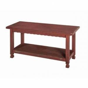 Bolton Furniture Alaterre Country Cottage Storage Shelf Entryway Bench, Red Antique Finish (Red)