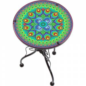 "Trademark Innovations 22"" Peacock Design Glass & Metal Side Table by Trademark Innovations"