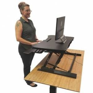 Boonliving Adjustable Desk Sit and Stand Computer Riser for Home and Office Use Ergonomic Workstation with Keyboard Tray