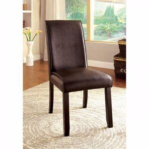 Benzara Gladstone I Contemporary Side Chair, Dark Walnut Finish, Set of 2 (Brown - Set of 2)