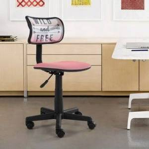Overstock Urban Shop Rolling Mesh Chair with Text (Pink)