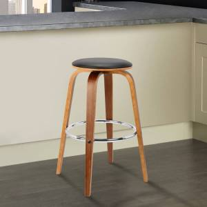 Today's Mentality Brussel Mid-Century Backless Swivel Wood Barstool in Walnut with Black Faux Leather - bar height - bar height