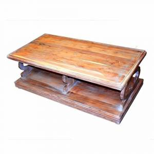 Benzara Antique Style Sturdy Wooden Coffee Table, Brown