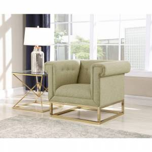 Chic Home Gloria Accent Club Chair Button Tufted Linen-Textured Plush Cushion Brass Finished Brushed Metal Base Frame (Beige/Espresso)