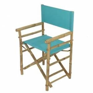 Overstock Bamboo Director Chair - Set of 2 Chairs (Aqua Blue - Arm Chairs)