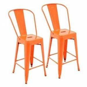 Porthos Home Rust-Resistant Metal Counter Stool with Back (Set of 2) (Orange)
