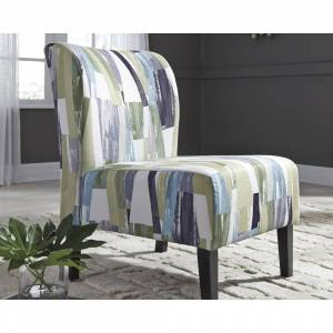 Signature Design by Ashley Triptis Geometric Pattern Blue/Green Contemporary Accent Chair (Grey)