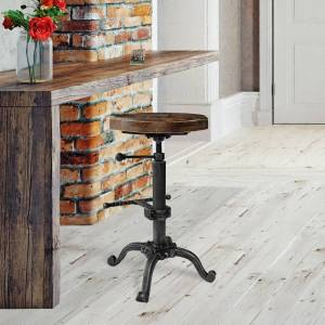 Today's Mentality Davi Industrial Barstool in Silver Brushed Gray with Rustic Pine