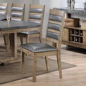 Benzara Well Designed Rubber Wood Dining Chair, Set Of 2, Brown And Gray