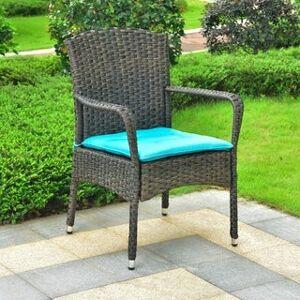 International Caravan Majorca Resin Wicker Patio Dining Chair with Cushion (dark coffee/aqua blue)