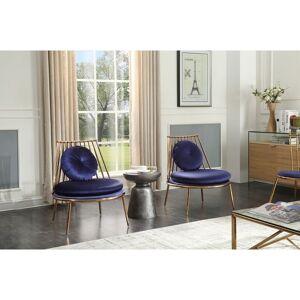 Overstock Modrest Dyna Blue & Gold Accent Chair (Blue)