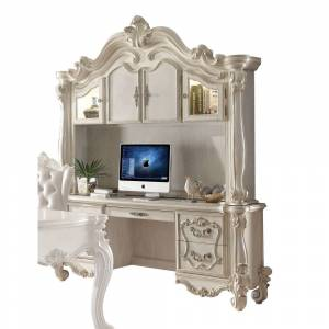 ACME Versailles Bone White Computer Desk and Hutch