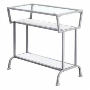 """Monarch Specialties Accent Table - 22""""H  Tempered Glass (White - Metal Finish/Matte)"""