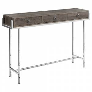 """Monarch Specialties Accent Table - 48""""L  Chrome Metal (Grey - Chrome Finish)"""