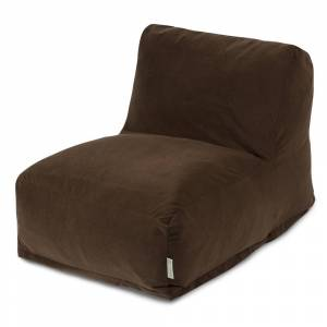 Majestic Home Goods Chocolate Velvet Bean Bag Lounger Chair (Brown)