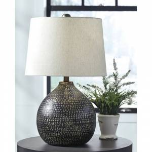 Signature Design by Ashley Maire Metal 24 Inch Table Lamp - Black and Gold Finish