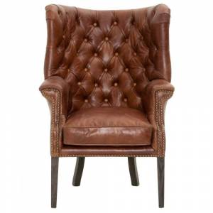 Benzara Upholstered Club Chair With High Curved Button Tufted Back, Brown