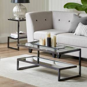 Madison Park Signature Boyd Black Coffee Table (Traditional - Coffee Tables - Rectangle - Black - Shelf - Sled - Metal Finish/Chrome Finish - Table -