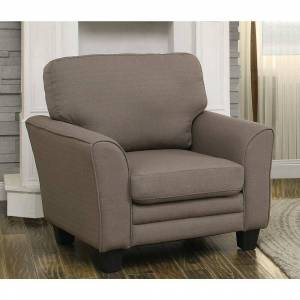 Benzara Fabric upholstered Arm Chair With Slightly Flared Arms, Gray