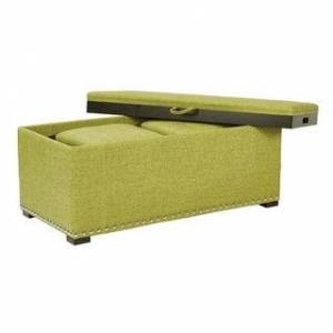 OSP Home Furnishings Florence Bench with Cubes and Serving Tray (Basil)