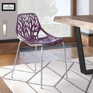 LeisureMod Asbury Purple Open Back Chrome Dining Side Chair (Single - Dining Height)